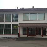 Фасад здания библиотеки, тут же находится спортивный центр
